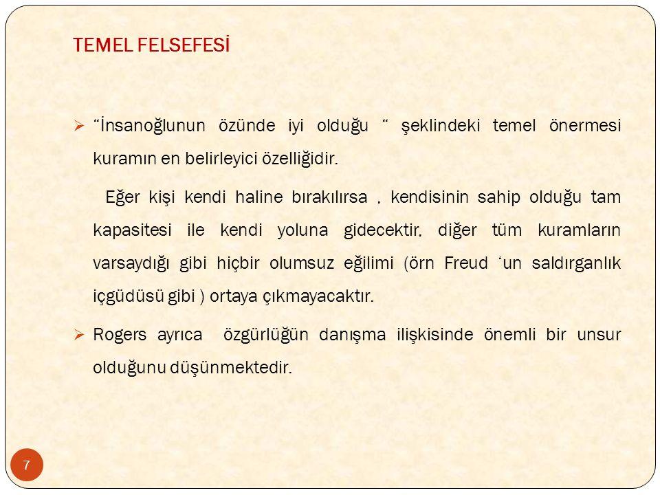 TEMEL FELSEFESİ 7  İnsanoğlunun özünde iyi olduğu şeklindeki temel önermesi kuramın en belirleyici özelliğidir.