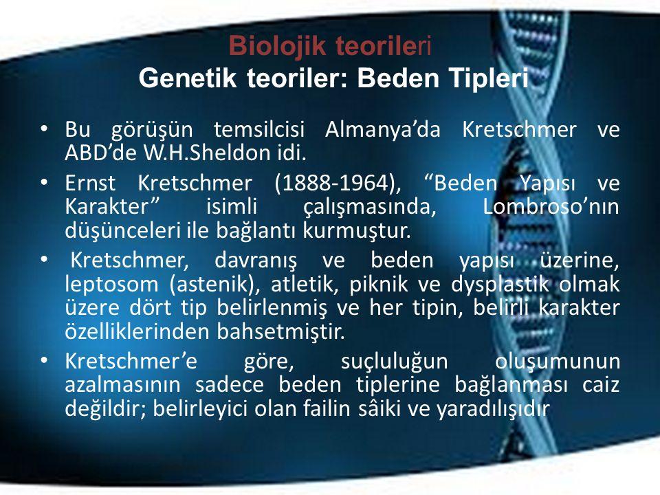 Biolojik teorileri Genetik teoriler: Beden Tipleri Bu görüşün temsilcisi Almanya'da Kretschmer ve ABD'de W.H.Sheldon idi.