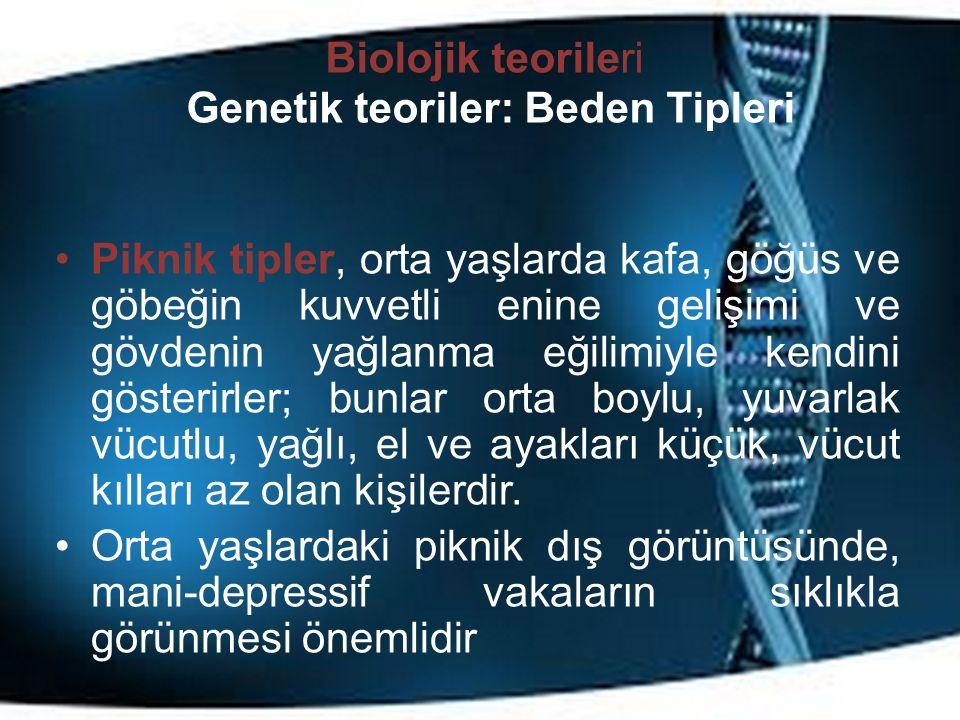 Biolojik teorileri Genetik teoriler: Beden Tipleri Piknik tipler, orta yaşlarda kafa, göğüs ve göbeğin kuvvetli enine gelişimi ve gövdenin yağlanma eğilimiyle kendini gösterirler; bunlar orta boylu, yuvarlak vücutlu, yağlı, el ve ayakları küçük, vücut kılları az olan kişilerdir.