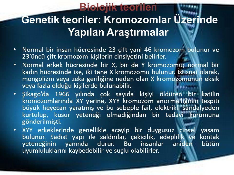Biolojik teorileri Genetik teoriler: Kromozomlar Üzerinde Yapılan Araştırmalar Normal bir insan hücresinde 23 çift yani 46 kromozom bulunur ve 23'üncü çift kromozom kişilerin cinsiyetini belirler.