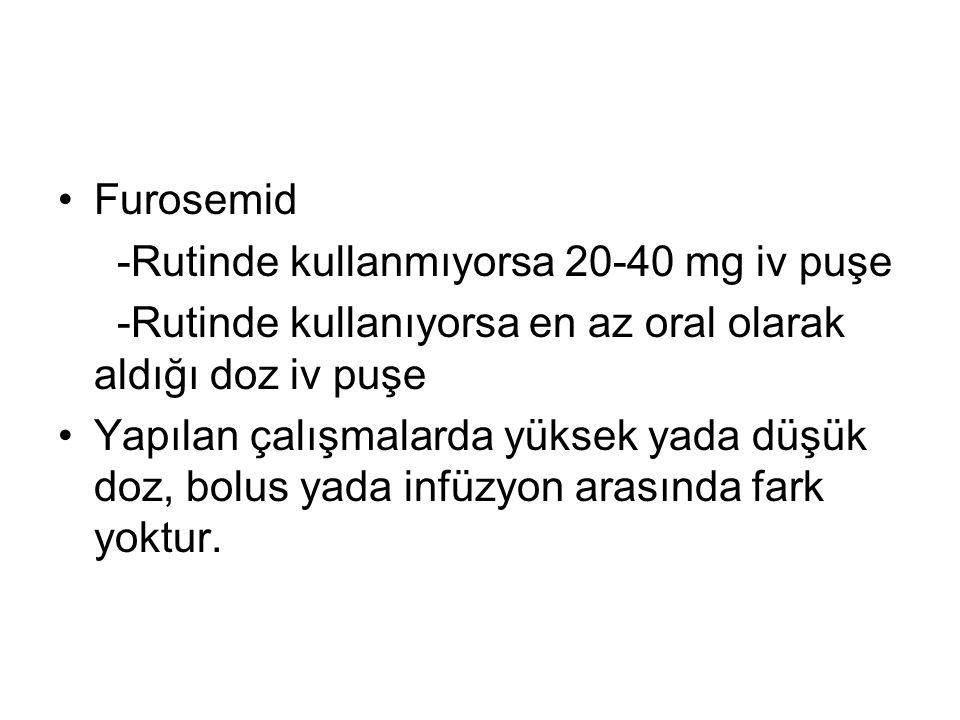 Furosemid -Rutinde kullanmıyorsa 20-40 mg iv puşe -Rutinde kullanıyorsa en az oral olarak aldığı doz iv puşe Yapılan çalışmalarda yüksek yada düşük do