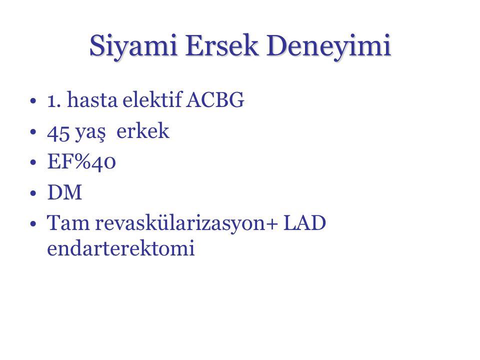 1. hasta elektif ACBG 45 yaş erkek EF%40 DM Tam revaskülarizasyon+ LAD endarterektomi