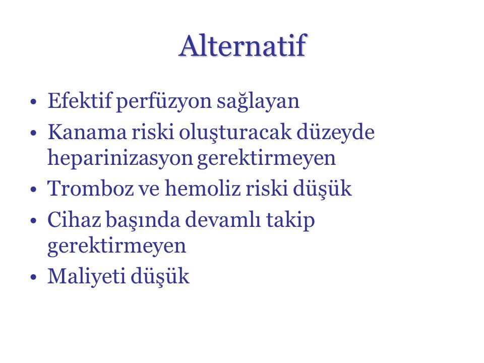 Alternatif Efektif perfüzyon sağlayan Kanama riski oluşturacak düzeyde heparinizasyon gerektirmeyen Tromboz ve hemoliz riski düşük Cihaz başında devamlı takip gerektirmeyen Maliyeti düşük