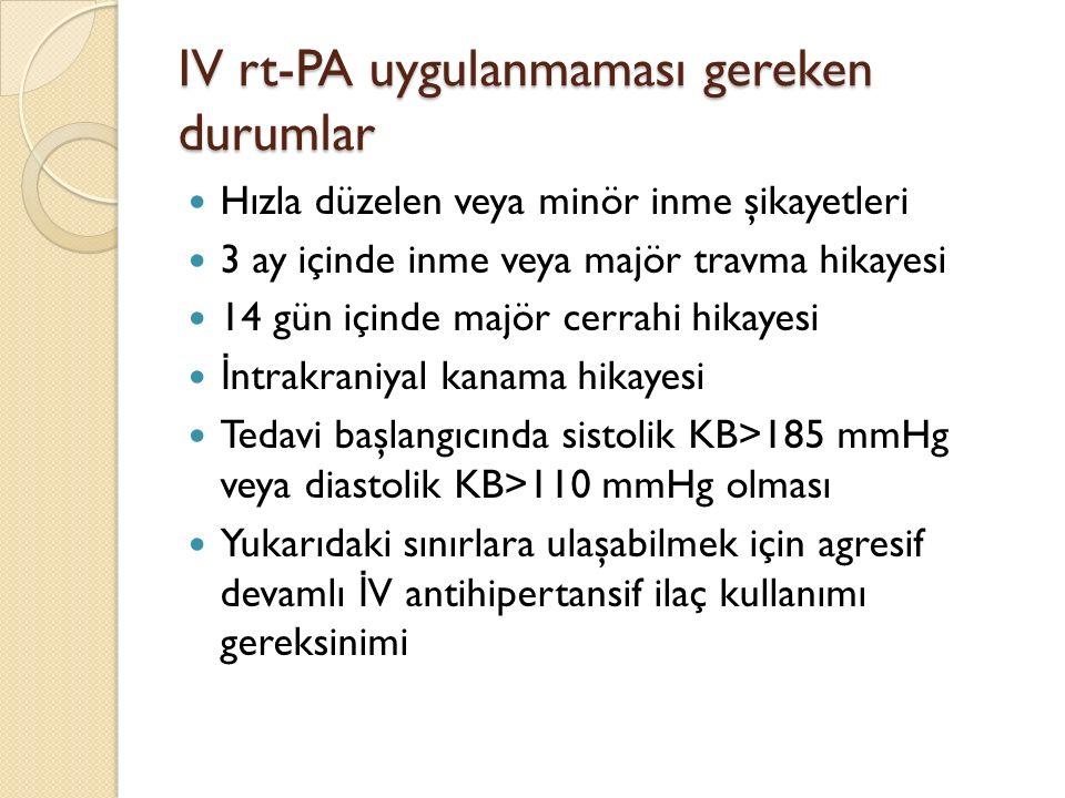 IV rt-PA uygulanmaması gereken durumlar Hızla düzelen veya minör inme şikayetleri 3 ay içinde inme veya majör travma hikayesi 14 gün içinde majör cerr
