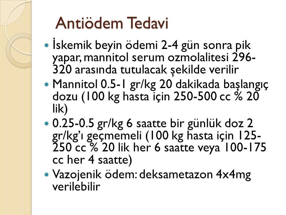 Antiödem Tedavi İ skemik beyin ödemi 2-4 gün sonra pik yapar, mannitol serum ozmolalitesi 296- 320 arasında tutulacak şekilde verilir Mannitol 0.5-1 g