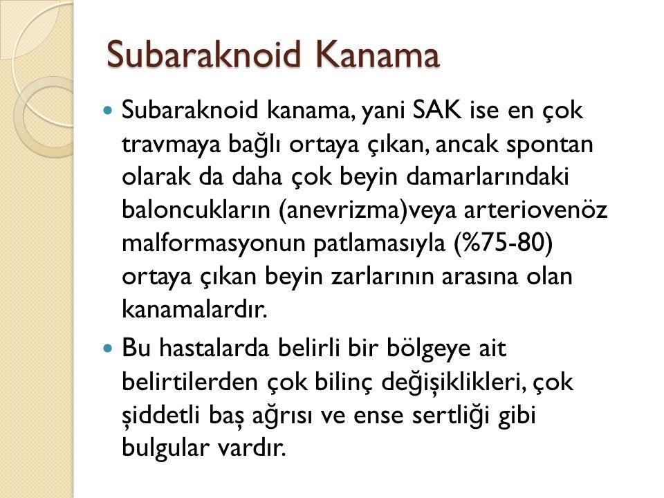 Subaraknoid Kanama Subaraknoid kanama, yani SAK ise en çok travmaya ba ğ lı ortaya çıkan, ancak spontan olarak da daha çok beyin damarlarındaki balonc