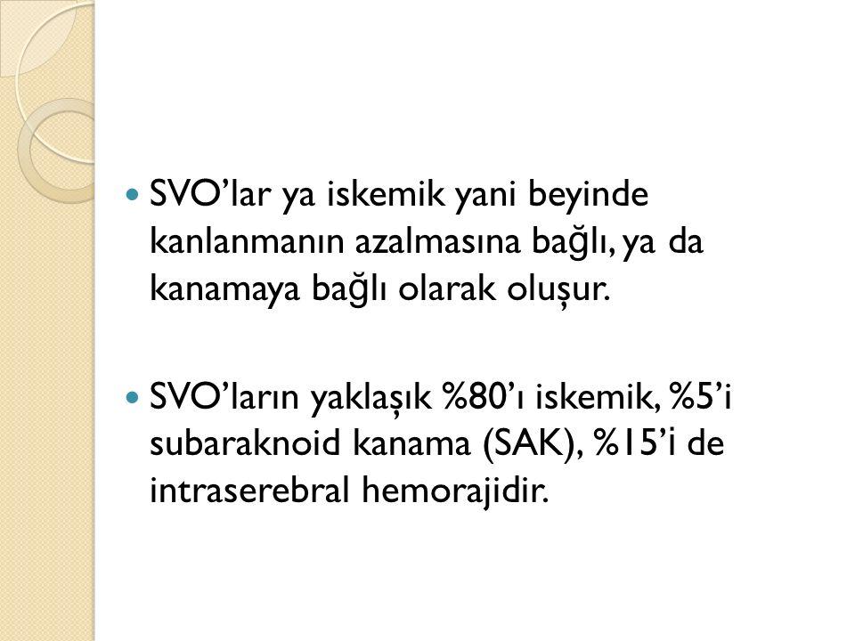 SVO'lar ya iskemik yani beyinde kanlanmanın azalmasına ba ğ lı, ya da kanamaya ba ğ lı olarak oluşur. SVO'ların yaklaşık %80'ı iskemik, %5'i subarakno
