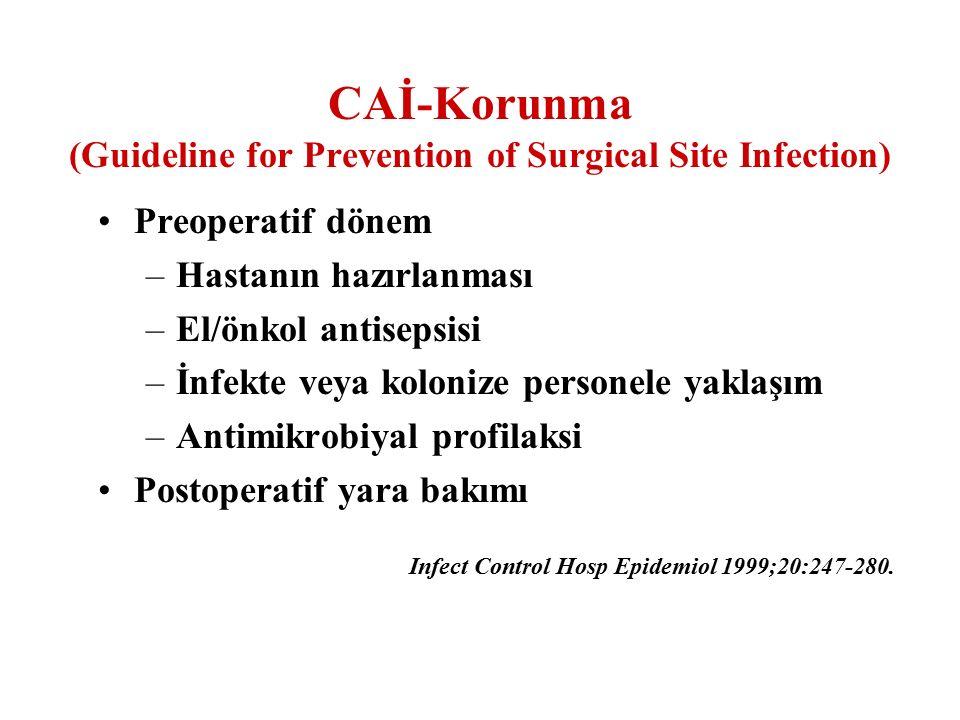 Preoperatif dönem –Hastanın hazırlanması –El/önkol antisepsisi –İnfekte veya kolonize personele yaklaşım –Antimikrobiyal profilaksi Postoperatif yara