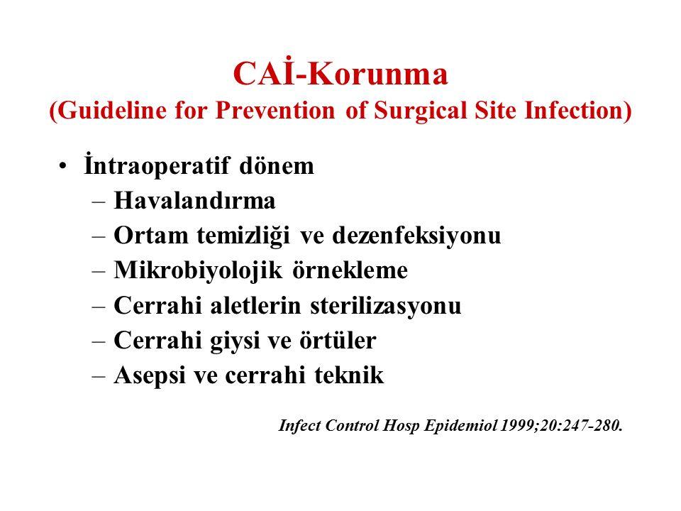 İntraoperatif dönem –Havalandırma –Ortam temizliği ve dezenfeksiyonu –Mikrobiyolojik örnekleme –Cerrahi aletlerin sterilizasyonu –Cerrahi giysi ve ört