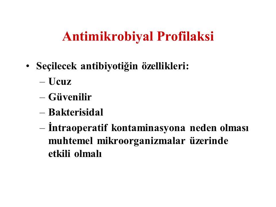 Antimikrobiyal Profilaksi Seçilecek antibiyotiğin özellikleri: –Ucuz –Güvenilir –Bakterisidal –İntraoperatif kontaminasyona neden olması muhtemel mikr