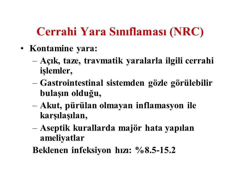 Cerrahi Yara Sınıflaması (NRC) Kontamine yara: –Açık, taze, travmatik yaralarla ilgili cerrahi işlemler, –Gastrointestinal sistemden gözle görülebilir