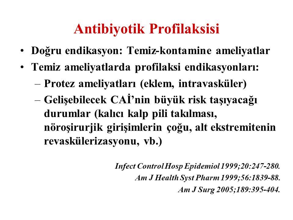 Doğru endikasyon: Temiz-kontamine ameliyatlar Temiz ameliyatlarda profilaksi endikasyonları: –Protez ameliyatları (eklem, intravasküler) –Gelişebilece