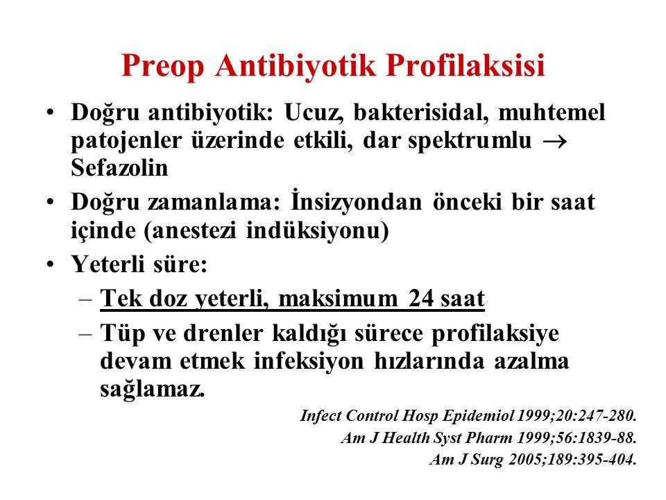 Doğru antibiyotik: Ucuz, bakterisidal, muhtemel patojenler üzerinde etkili, dar spektrumlu  Sefazolin Doğru zamanlama: İnsizyondan önceki bir saat iç