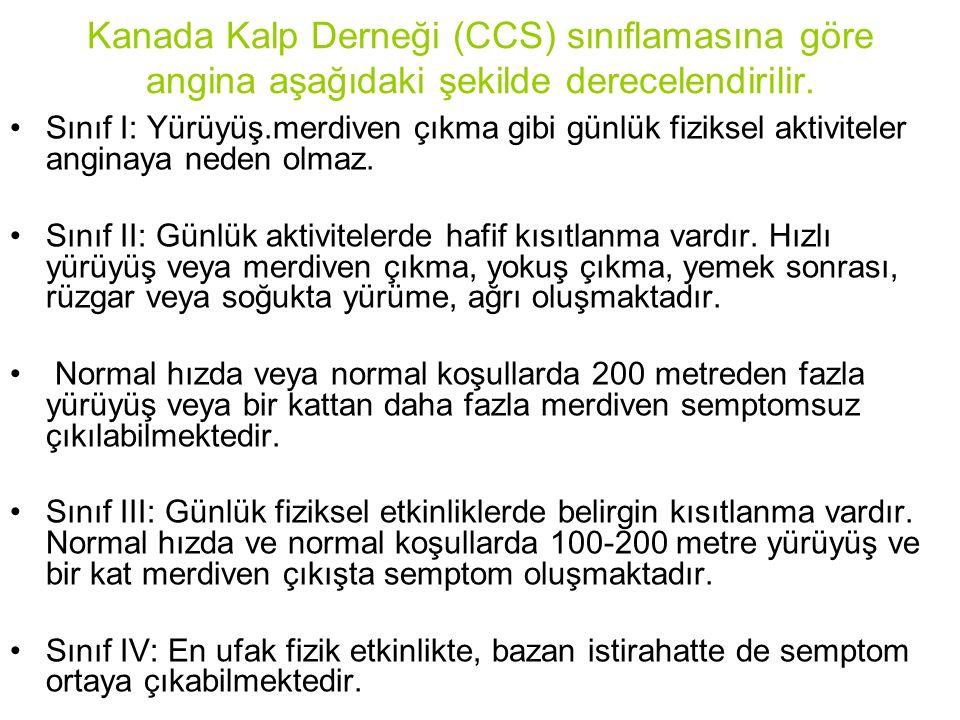Kanada Kalp Derneği (CCS) sınıflamasına göre angina aşağıdaki şekilde derecelendirilir. Sınıf I: Yürüyüş.merdiven çıkma gibi günlük fiziksel aktivitel