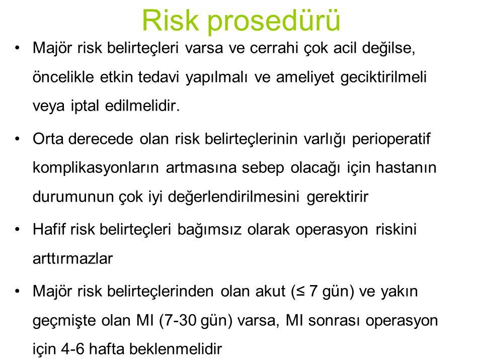 Risk prosedürü Majör risk belirteçleri varsa ve cerrahi çok acil değilse, öncelikle etkin tedavi yapılmalı ve ameliyet geciktirilmeli veya iptal edilm
