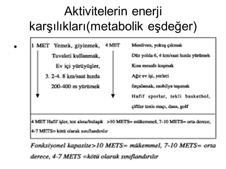 Aktivitelerin enerji karşılıkları(metabolik eşdeğer).