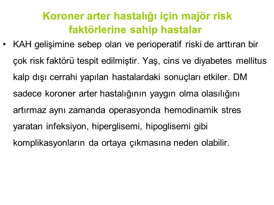 Koroner arter hastalığı için majör risk faktörlerine sahip hastalar KAH gelişimine sebep olan ve perioperatif riski de arttıran bir çok risk faktörü t