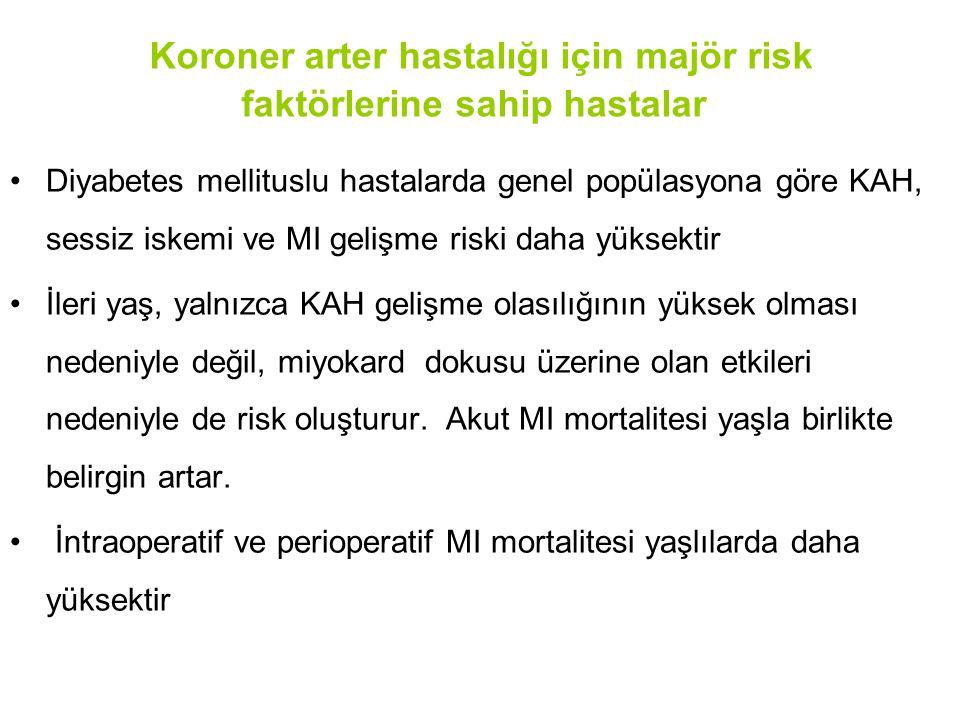 Koroner arter hastalığı için majör risk faktörlerine sahip hastalar Diyabetes mellituslu hastalarda genel popülasyona göre KAH, sessiz iskemi ve MI ge
