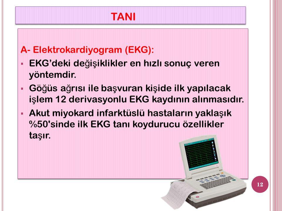 TANI A- Elektrokardiyogram (EKG):  EKG'deki de ğ i ş iklikler en hızlı sonuç veren yöntemdir.