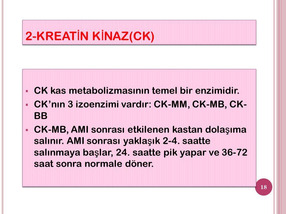 2-KREAT İ N K İ NAZ(CK)  CK kas metabolizmasının temel bir enzimidir.