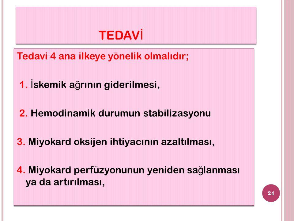 TEDAV İ Tedavi 4 ana ilkeye yönelik olmalıdır; 1. İ skemik a ğ rının giderilmesi, 2.