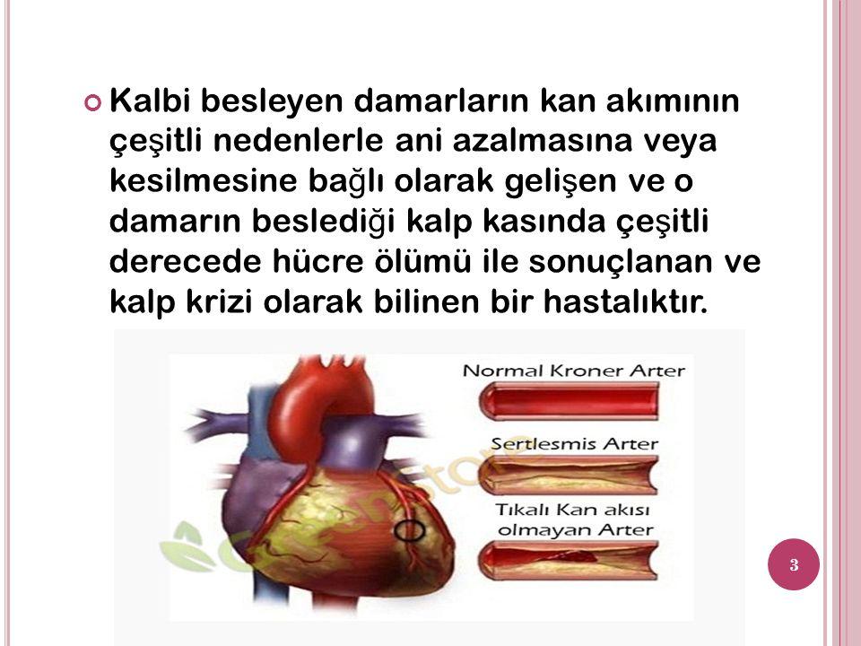Kalbi besleyen damarların kan akımının çe ş itli nedenlerle ani azalmasına veya kesilmesine ba ğ lı olarak geli ş en ve o damarın besledi ğ i kalp kasında çe ş itli derecede hücre ölümü ile sonuçlanan ve kalp krizi olarak bilinen bir hastalıktır.