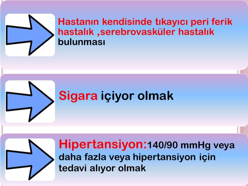 8 Hastanın kendisinde tıkayıcı peri ferik hastalık,serebrovasküler hastalık bulunması Sigara içiyor olmak Hipertansiyon: 140/90 mmHg veya daha fazla veya hipertansiyon için tedavi alıyor olmak