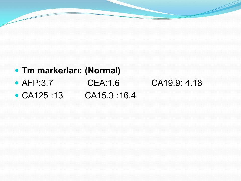 Tm markerları: (Normal) AFP:3.7 CEA:1.6 CA19.9: 4.18 CA125 :13 CA15.3 :16.4