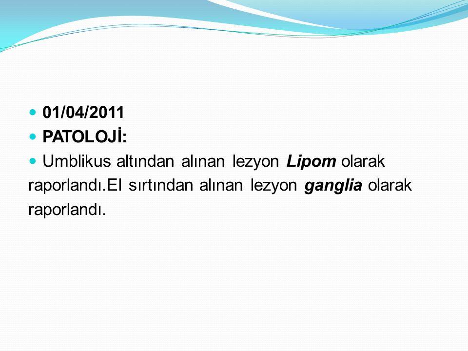 01/04/2011 PATOLOJİ: Umblikus altından alınan lezyon Lipom olarak raporlandı.El sırtından alınan lezyon ganglia olarak raporlandı.