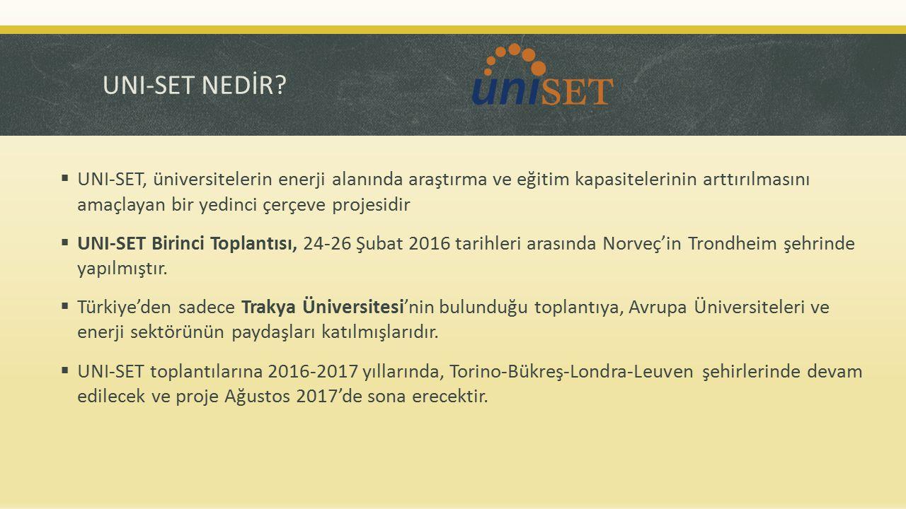 UNI-SET HEDEFLERİ  Avrupa genelinde Yüksek Lisans, Doktora ve Araştırma programlarının haritalandırılması  Avrupa enerji sektörünün ihtiyaç duyduğu mesleki profillerin tespiti  Üniversitelerin enerjideki stratejik rolünü geliştirmek  Avrupa enerji platformunda üniversitelerin sesini güçlendirmek