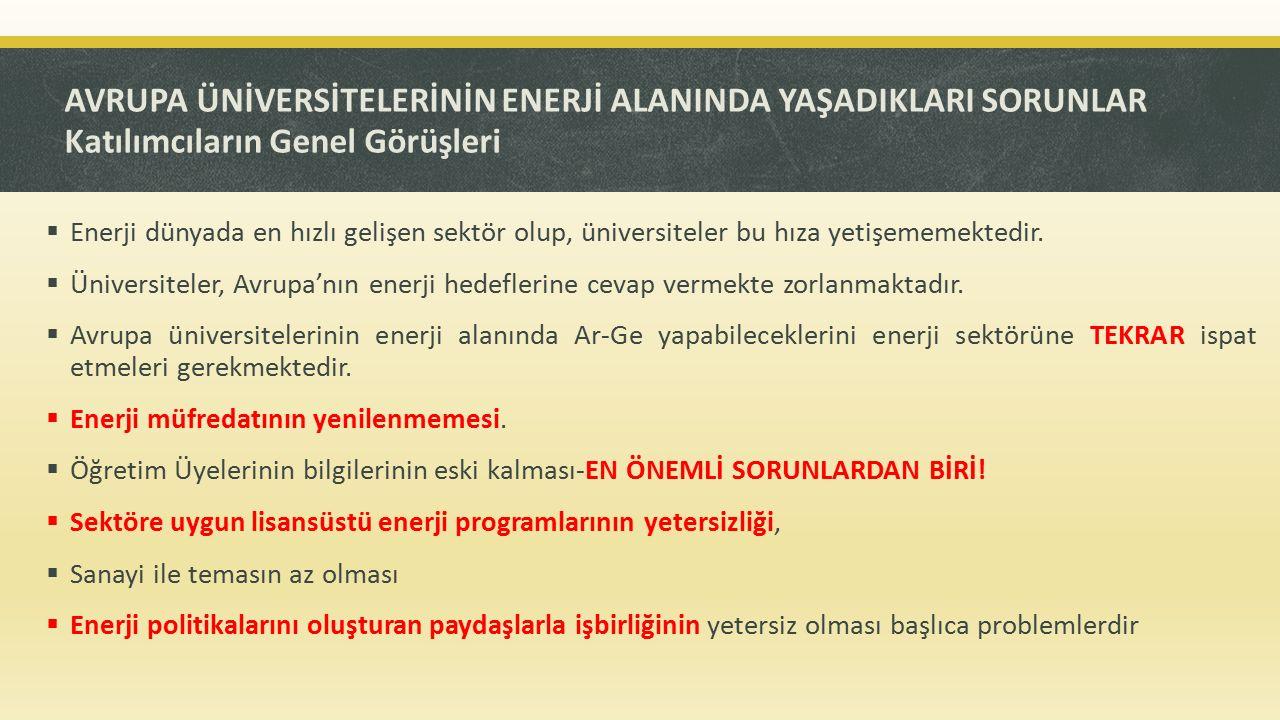 UNI-SET KAPSAMINDA TRAKYA ÜNİVERSİTESİ İÇİN TAVSİYELER Kısa vadede yapılması gerekenler  Trakya Üniversitesinin Avrupa Enerji Araştırmaları Birliğine üye olması (European Energy Research Alliance-EERA) –Türkiye'den 3 üye.