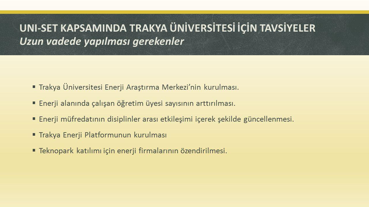 UNI-SET KAPSAMINDA TRAKYA ÜNİVERSİTESİ İÇİN TAVSİYELER Uzun vadede yapılması gerekenler  Trakya Üniversitesi Enerji Araştırma Merkezi'nin kurulması.