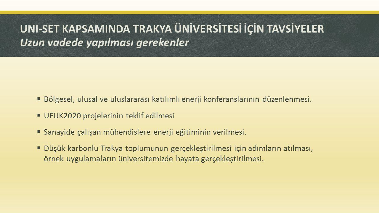 UNI-SET KAPSAMINDA TRAKYA ÜNİVERSİTESİ İÇİN TAVSİYELER Uzun vadede yapılması gerekenler  Bölgesel, ulusal ve uluslararası katılımlı enerji konferansl
