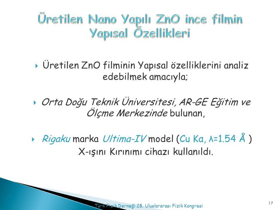  Üretilen ZnO filminin Yapısal özelliklerini analiz edebilmek amacıyla;  Orta Doğu Teknik Üniversitesi, AR-GE Eğitim ve Ölçme Merkezinde bulunan,  Rigaku marka Ultima-IV model (Cu Kα, λ=1.54 Å ) X-ışını Kırınımı cihazı kullanıldı.