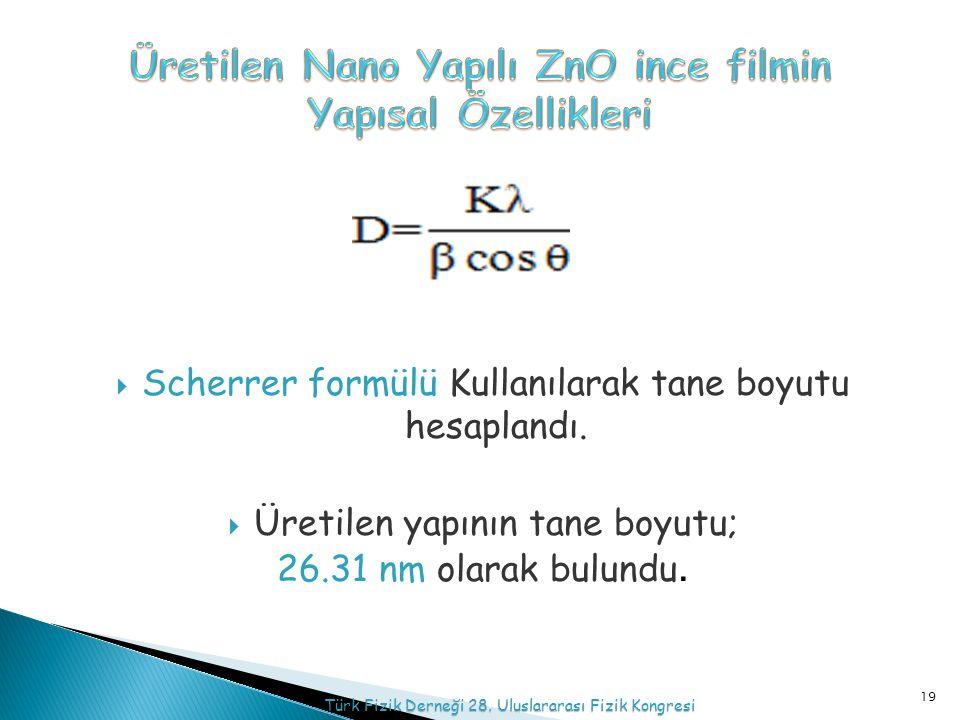  Scherrer formülü Kullanılarak tane boyutu hesaplandı.