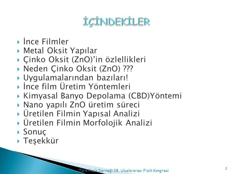  İnce Filmler  Metal Oksit Yapılar  Çinko Oksit (ZnO)'in özlellikleri  Neden Çinko Oksit (ZnO) .