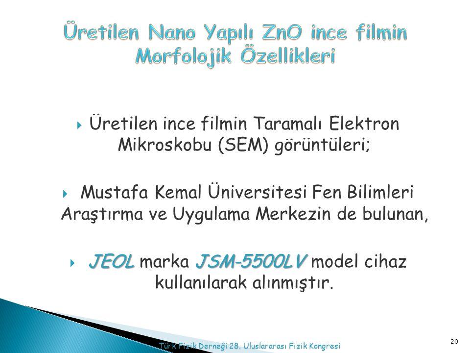  Üretilen ince filmin Taramalı Elektron Mikroskobu (SEM) görüntüleri;  Mustafa Kemal Üniversitesi Fen Bilimleri Araştırma ve Uygulama Merkezin de bulunan, JEOL JSM-5500LV  JEOL marka JSM-5500LV model cihaz kullanılarak alınmıştır.