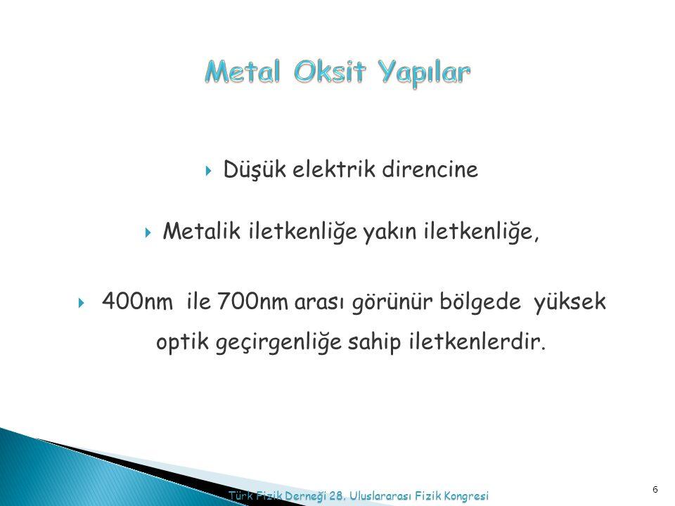  Düşük elektrik direncine  Metalik iletkenliğe yakın iletkenliğe,  400nm ile 700nm arası görünür bölgede yüksek optik geçirgenliğe sahip iletkenlerdir.