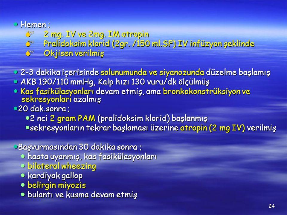 24 ● Hemen ; ● Hemen ;  2 mg. IV ve 2mg. IM atropin  Pralidoksim klorid (2gr. /150 ml.SF) IV infüzyon şeklinde  Okjisen verilmiş ● 2-3 dakika içeri