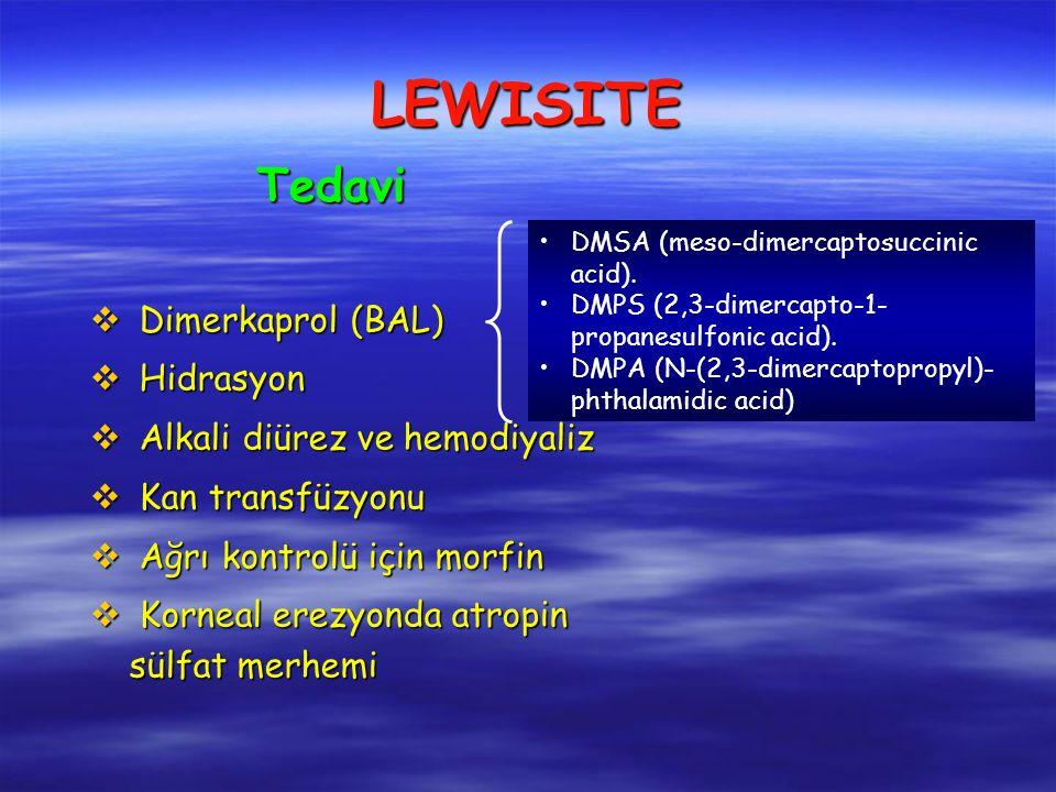 v Dimerkaprol (BAL) v Hidrasyon v Alkali diürez ve hemodiyaliz v Kan transfüzyonu v Ağrı kontrolü için morfin v Korneal erezyonda atropin sülfat merhemi Tedavi LEWISITE DMSA (meso-dimercaptosuccinic acid).