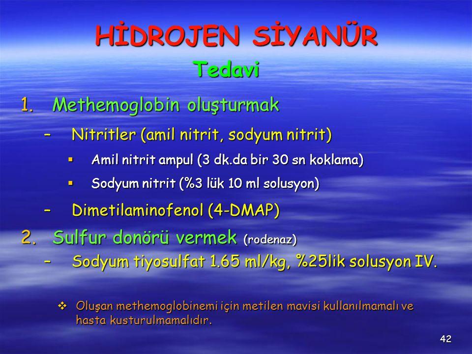 42 1.Methemoglobin oluşturmak –Nitritler (amil nitrit, sodyum nitrit)  Amil nitrit ampul (3 dk.da bir 30 sn koklama)  Sodyum nitrit (%3 lük 10 ml solusyon) –Dimetilaminofenol (4-DMAP) 2.Sulfur donörü vermek (rodenaz) –Sodyum tiyosulfat 1.65 ml/kg, %25lik solusyon IV.