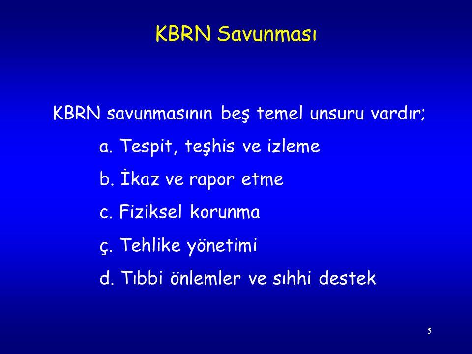 5 KBRN savunmasının beş temel unsuru vardır; a. Tespit, teşhis ve izleme b.