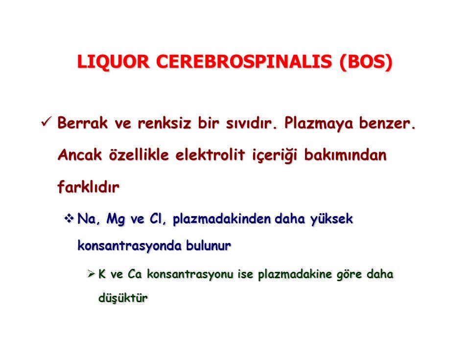 LIQUOR CEREBROSPINALIS (BOS) Berrak ve renksiz bir sıvıdır. Plazmaya benzer. Ancak özellikle elektrolit içeriği bakımından farklıdır Berrak ve renksiz