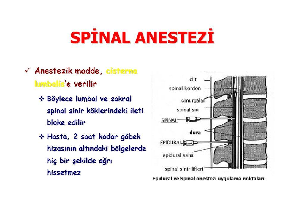 SPİNAL ANESTEZİ Anestezik madde, cisterna lumbalis'e verilir Anestezik madde, cisterna lumbalis'e verilir  Böylece lumbal ve sakral spinal sinir kökl