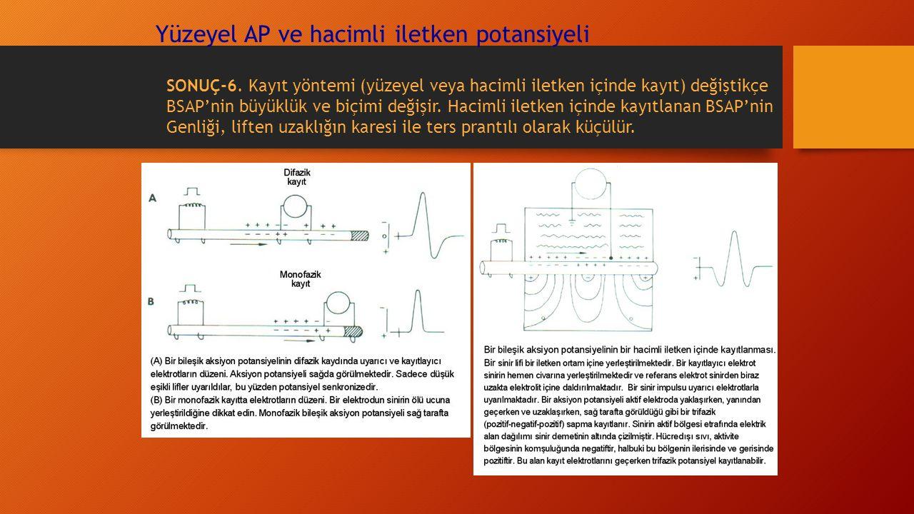 Yüzeyel AP ve hacimli iletken potansiyeli SONUÇ-6. Kayıt yöntemi (yüzeyel veya hacimli iletken içinde kayıt) değiştikçe BSAP'nin büyüklük ve biçimi de