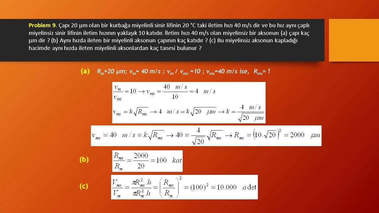 Problem 9. Çapı 20 μm olan bir kurbağa miyelinli sinir lifinin 20 °C taki iletim hızı 40 m/s dir ve bu hız aynı çaplı miyelinsiz sinir lifinin iletim