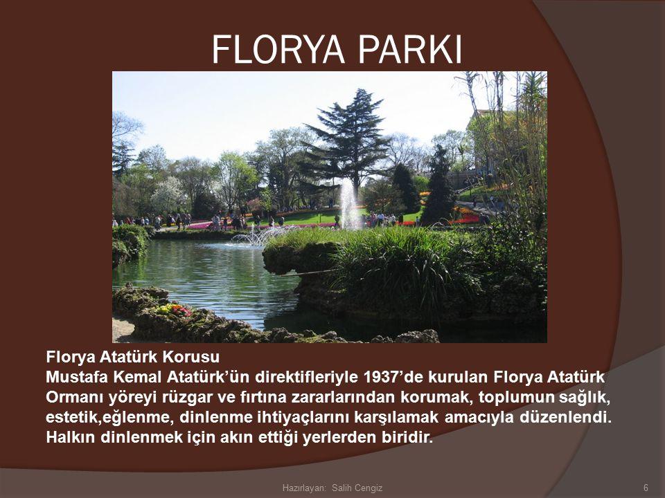 FLORYA PARKI Florya Atatürk Korusu Mustafa Kemal Atatürk'ün direktifleriyle 1937'de kurulan Florya Atatürk Ormanı yöreyi rüzgar ve fırtına zararlarından korumak, toplumun sağlık, estetik,eğlenme, dinlenme ihtiyaçlarını karşılamak amacıyla düzenlendi.