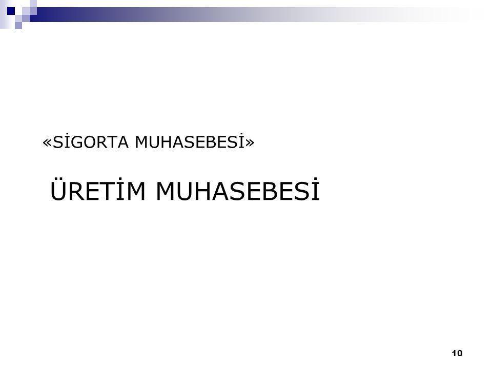ÜRETİM MUHASEBESİ «SİGORTA MUHASEBESİ» 10