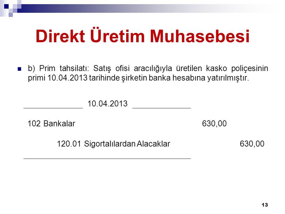 Direkt Üretim Muhasebesi b) Prim tahsilatı: Satış ofisi aracılığıyla üretilen kasko poliçesinin primi 10.04.2013 tarihinde şirketin banka hesabına yatırılmıştır.
