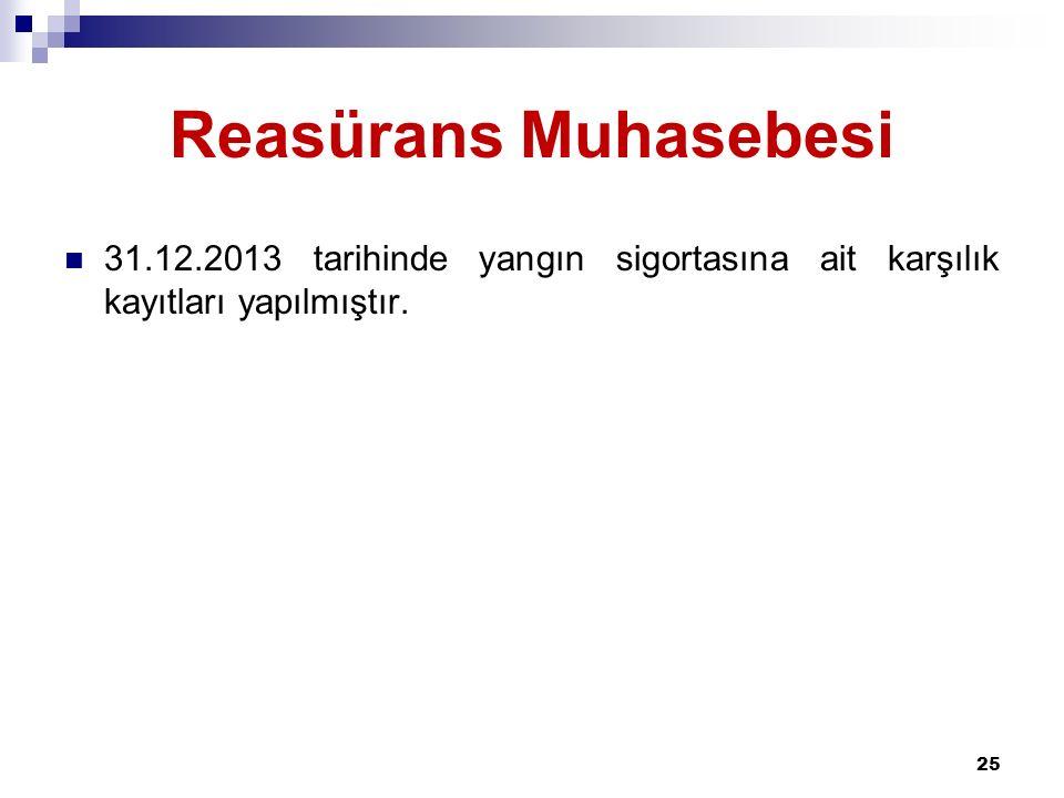 Reasürans Muhasebesi 31.12.2013 tarihinde yangın sigortasına ait karşılık kayıtları yapılmıştır. 25